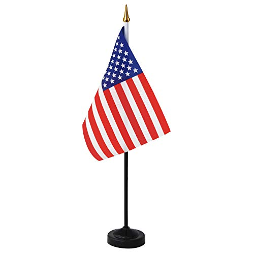 Anley USA Deluxe Desk Flag Set - 8 x 5 inch Miniature American US Desktop...