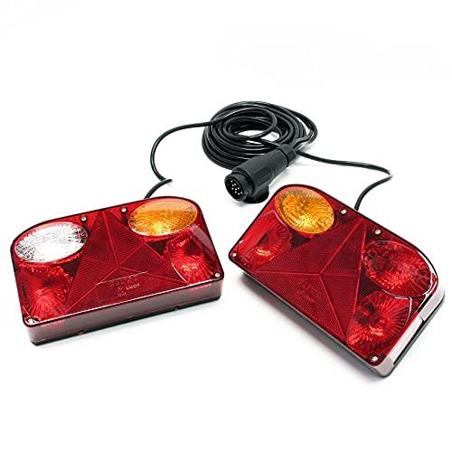Luces traseras para remolque 2 piezas con 5 funciones, cable (5 m), enchufe 13 pines y lámparas 12V