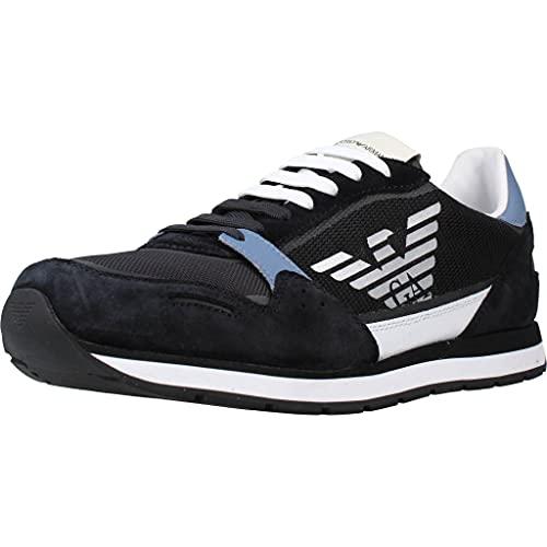 armani scarpe uomo sneakers Emporio Armani Sneakers in Pelle con Logo Uomo X4X537 XM678 (Blu/Azzurro