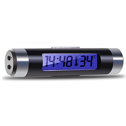 DIDEMI Multifunctional 3in1 Digital LCD Display Car Mini Clock Thermometer Electronic Time LED Backlight Easy to Carry