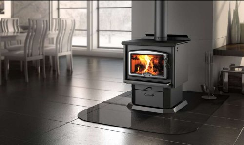 Best Price Osburn 1600 Wood Stove with Brushed Nickel Door Overlay and Black Pedestal Kit