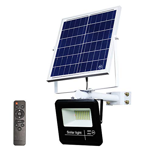 YQL 40W Outdoor LED Solar Wireless Security Wall Flood Light IP67 Waterproof White 6500K 80 LEDs Auto On/Off Dusk to Dawn with Remote and Mounting Bracket for Garden Landscape Patio Deck