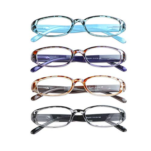4 Pairs Reading Glasses with Spring Hinge, Blue Light Blocking Glasses for Women/Men(4 Color,+1.50 Magnification)