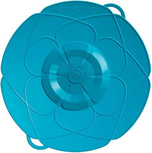 Kochblume vom Erfinder L 29 cm Silikon türkis Überkochschutz für Töpfe und Pfannen | Überkochstopp und Spritzschutz für Topfgrößen von Ø 14 bis 24 cm | Set mit Microfasertuch!