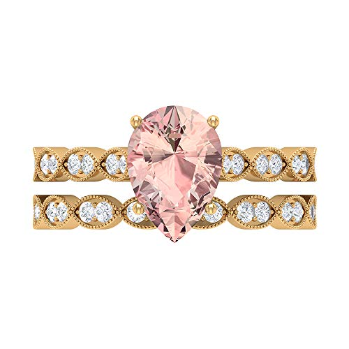 2.51 CT Lab Created Morganite Ring, D-VSSI Moissanite Bridal Ring Set, 7X10 MM Pear Shaped Engagement Ring, Gold Side Stone Ring, 18K Yellow Gold, Size:UK Z+1
