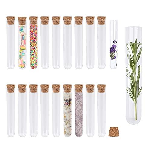 KINDPMA 20 Stück Reagenzgläser für Blumen Reagenzglas mit Korken 18ml Reagenzgläser Kunststoff Reagenzglas Transparent Reagenzröhrchen Gastgeschenke für Blumen Badesalz Gewürze Hochzeit M&M 18 x 105mm