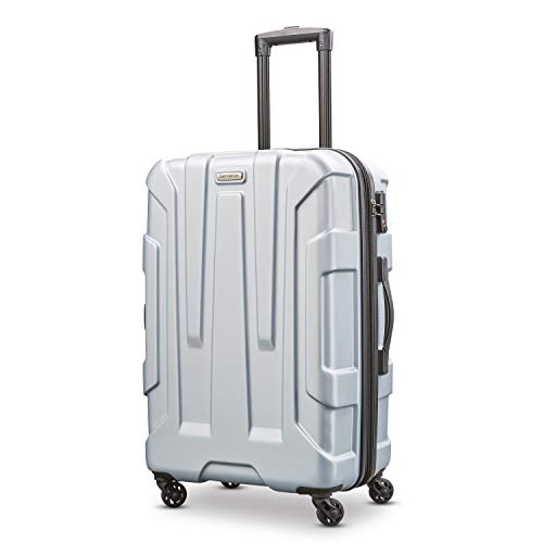 Samsonite Centric Hardside Expandable Luggage with Spinner Wheels, Silver, Checked-Medium 24-Inch