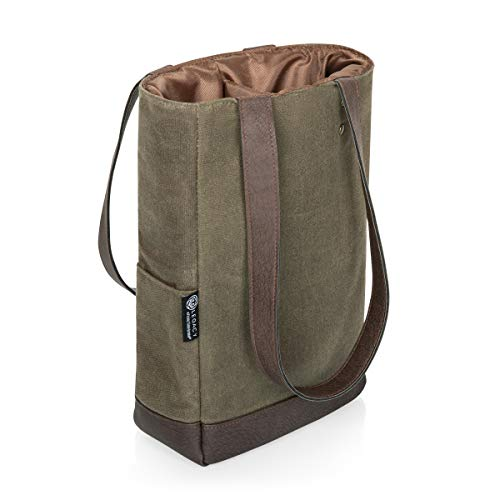 LEGACY - a Picnic Time Brand 2 Bottle Insulated Wine Bag - Distressed Waxed Canvas Wine Tote Bag - Wine Gift Bag