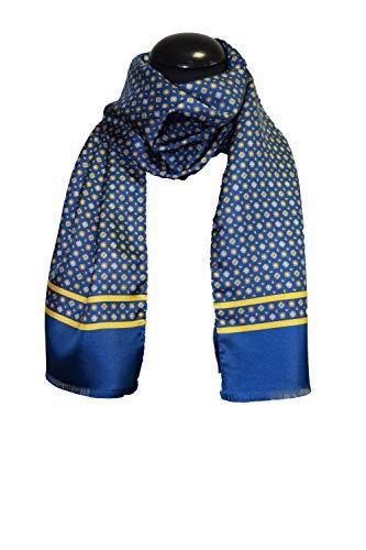tessago sciarpa 12778 var 8 blu senape seta 100%