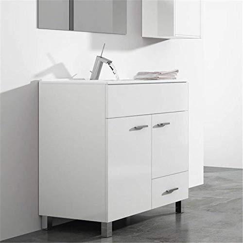 THERMIKET Mueble de Baño con Lavabo de Porcelana con Patas - 2 Puertas y 1 cajón- Mueble va MONTADO - Modelo Samos (Blanco, 60cm)