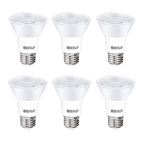 YGS-Tech 6 Pack PAR20 LED Light Bulb, 7W Dimmable Flood Bulbs (50W Equivalent), 5000K Daylight White, CRI80+, 500 Lumens, E26 Base, 25,000 HRS, Indoor/Outdoor - UL Listed
