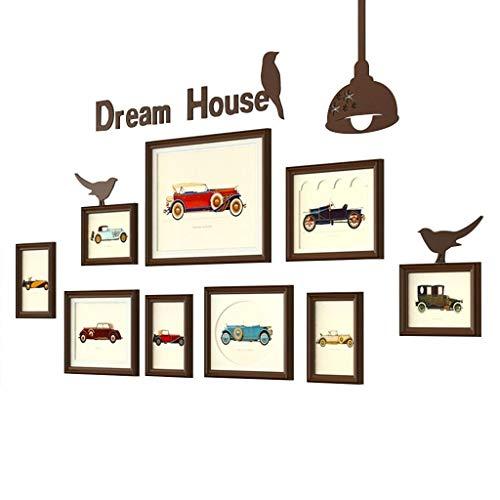 ZPQJH fotolijstset creatieve fotomuur, Amerikaans landelijk retro fotolijst, voor restaurant woonkamer slaapkamer bank achtergrond muur decoratie combinatie 167 * 83cm