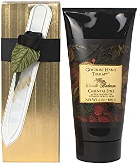 Camille Beckman Romantic Manicure Gift Set, Oriental Spice, Glycerine Hand Therapy 6 oz, Premium Crystal Nail File