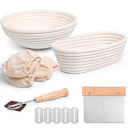 10 Inch Round & 10 Inch Oval Banneton Bread Proofing Basket Set of 2, 100% Natural Rattan Baskets Bread Baking Tools Included Bread Lame, Dough Scraper, Linen Liner Cloth,Great for Bread Making Baking