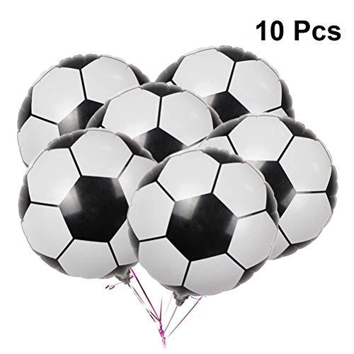 LUOEM Balón de Papel de Aluminio de fútbol Copa del Mundo Partido Decoraitons Balón de Papel de Aluminio de 18 Pulgadas, Paquete de 10