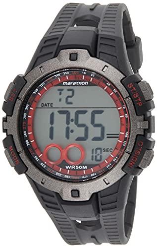 Timex Marathon T5K423 - Reloj digital de cuarzo para hombres, correa de goma, sumergible a 50 metros, color negro