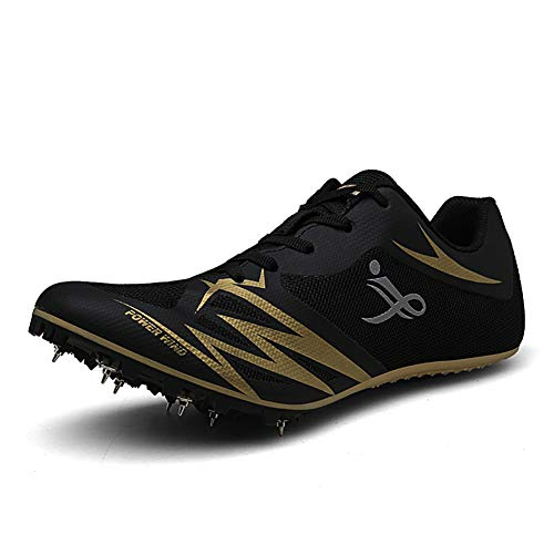 Zapatillas de atletismo unisex Zapatillas De Correr con Clavos para hombre mujer Zapatillas de atletismo atléticas Zapatillas de carrera con 7 espigas Niños Niñas,Negro,35EU