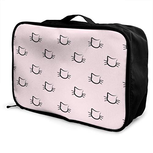 Koffertaschen Hand Drawn Cats Seamless Pattern Young Men and Women School Luggage Bag Lightweight Large Capacity Portable Holiday Travel Bags Tote Duffel Carry-on in Trolley Holiday Suitcase