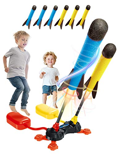 XMW Kids Toys Dueling Rocket Launchers - Shoots Up to 100 Feet - Includes 6 Foam Rockets, Foot Launcher Stand - Fun Outdoor Toys Games for Kids - Best Gift Toys for 3 4 5 6 7 8 9 Year Old Boys Girls