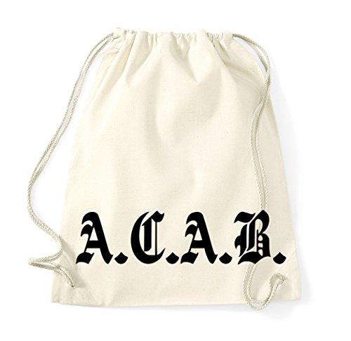 TRVPPY Baumwolle Turnbeutel Modell ACAB A.C.A.B, Sportbeutel Beutel Rucksack Tasche