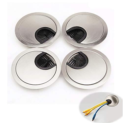 Meixindi - Ojales de metal para cables de escritorio con apertura de cepillo para escritorio, tapas para agujeros para organizar cables, paquete de 4 unidades (cromo cepillado)