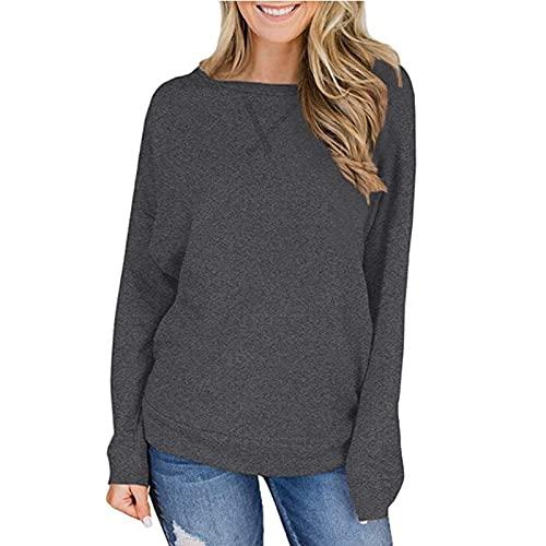 Camiseta de Mujer Moda Color sólido Diario Casual Cuello Redondo Simple Confort Suelta Tendencia al Aire Libre Todo fósforo Sudadera básica M