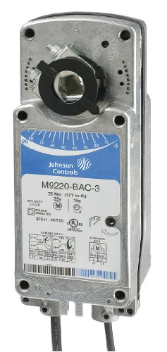 Johnson Controls M9220-AGC-3 Series M9220 Electric Spring-Return Damper Actuator, Floating Control, Two Auxiliary Switch, 24 VAC, 50/60 Hz