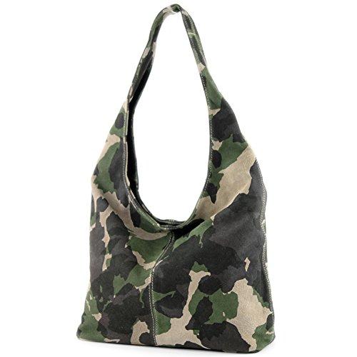 modamoda de - italiana de cuero bolso de gamuza T150, Color:camuflaje verde