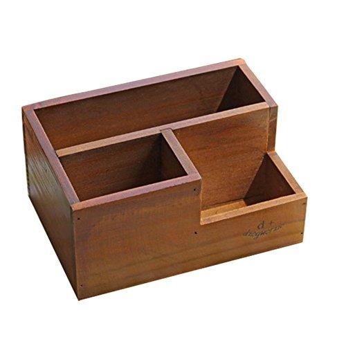 Demarkt 1 Pcs Boîte de Rangement en Bois Organisateur de Tiroir Pots de Plantes Succulentes Storage Box Organizer Rangement pour Débris de Bureau Bijoux Cosmétiques Papeterie - 19.5 * 13.8 * 9.5CM