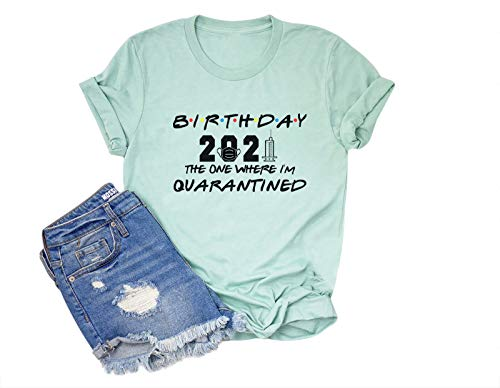 Anbech Birthday 2021 The One Where Im Quarantined Friends TV Shirt Social Distancing Graphic (Blue, X-Large)