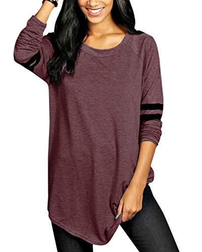 VONDA Oberteile Damen Langarmshirt Baseball T-Shirt Casual Oversize Longshirt Farbblock Pullover Gestreift Tuniken A-Weinrot XXL