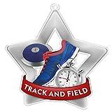 Trophy Monster - Pack de 10 medallas y Cintas para Eventos y escuelas, Hechas de acrílico Impreso, 60 mm, 70 mm, 80 mm, Plata, Supermaxi-Star - 80mm