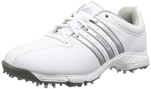 adidas 360 Traxion, Unisex-Kinder Golfschuhe, Weiß (White/Silver Metallic/Iron Met), Gr. 37 1/3 EU (4.5 UK)