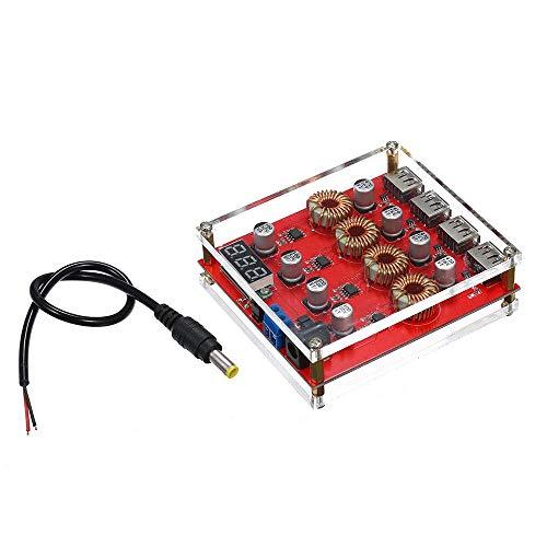 ViewSys Transformador, Convertidor de voltaje regulador de voltaje Ajustador DC 9V 12V 24V a 5V DC Módulo transformador adaptador de la carga de alimentación 4 Puerto USB Soporte de control de calidad