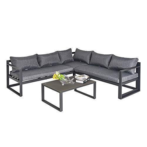 Outsunny 3-TLG. Gartengarnitur Gartenmöbel-Set 4-stufig verstellbar Gartenliege Gartenset Sitzgruppe mit Beistelltisch Sofa mit Kissen Outdoor Aluminium Grau
