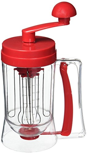 Pancake Batter Dispenser with Hand-Crank Whisk Lid, No Drip Pourer and Measurements- Perfect for Baking Cupcakes, Waffles and Muffins-by Chef Buddy