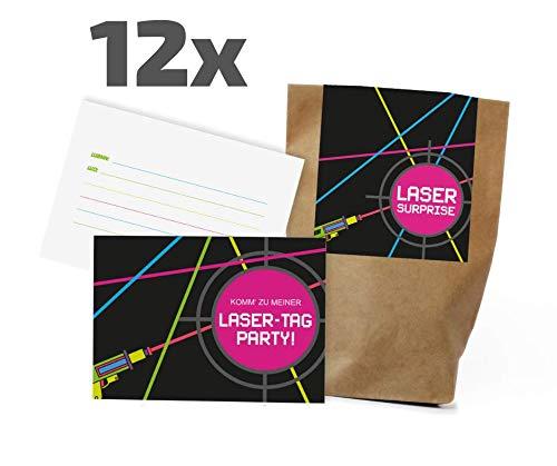 Ideenverlag 12x Lasertag Einladungskarten + Partytüten - Set zum Kindergeburtstag / Lasergame / Einladungen / Mitgebseltüten / Geschenktüten / Give-aways / Geburtstag / Kinder / Set