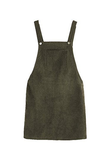Romwe Women's Straps A-line Corduroy Pinafore Bib Pocket Overall Dress Army Green S