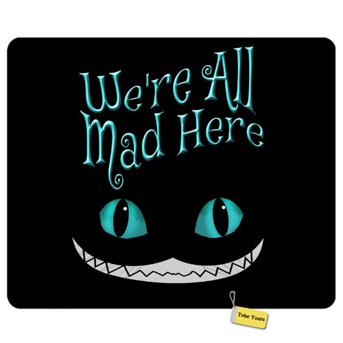 Gaming/Working Mousepad We're All Mad Here Cat Smile Face Cute and Functional Round Rectangle Non-Slip Rubber Comfortable Desk Mousepad Standard Mouse Pad Gift 9.5x7.9 inch