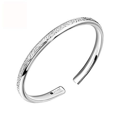 Bracelet Foot Silver Silver Bracelet Girlfriend Girlfriend Birthday Gift Wavy Striped Opening Adjustable Silver Bracelet women