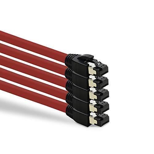 TPFNet 5er Pack CAT.8 hochwertiges Premium Netzwerkkabel flach mit RJ45 Anschluss | LAN Kabel | 0,25m | rot |mehrfache Abschirmung durch S/FTP | kompatibel mit Router, Modem, Switch