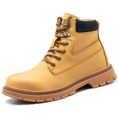 PAQOZKC Chaussures de Sécurité Hommes Femme Montante Hiver Chaussures de Travail avec Embout de Protection en Acier Imperméable Baskets de Sécurité(916/yellow/39)