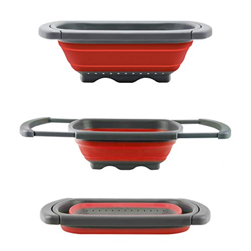 Colador plegable de Senter, para usar encima de fregadero, para vegetales y frutas, con asas extensibles (verde y rojo), Rojo, 39*26*5.5