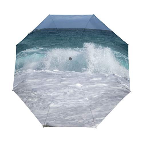 Paraguas de Viaje pequeño a Prueba de Viento al Aire Libre Lluvia Sol UV Auto Compacto 3 Pliegues Cubierta de Paraguas - Beach Wave Costa Sand Carboneras Almería