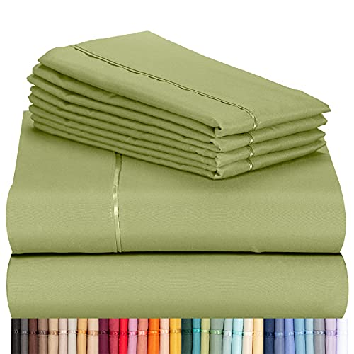 """LuxClub 6 PC Sheet Set Bamboo Sheets Deep Pockets 18"""" Eco Friendly Wrinkle Free Sheets Machine Washable Hotel Bedding Silky Soft - Lime Queen"""