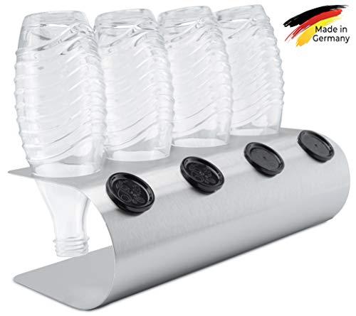 SodaNature™ | 4er Design Abtropfhalter in U-Form z.B. für SodaStream Crystal Flaschen | Flaschenhalter in 3 Farben: Edelstahl, Weiß, Anthrazit | Made in Germany