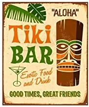 Tiki Bar Sign - Retro Hawaiian Tin Poster for Home, Bar, Restaurant or Party Themed 8 x 12 Inches Size