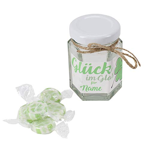 Herz & Heim® Handgefertigte Kleeblatt Bonbons als Glück im Glas mit Wunschname bedruckt
