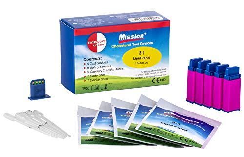 Swiss Point Of Care Mission 3 in 1 Teststreifen und weiteres Messzubehör | 5 Cholesterin Teststreifen, inkl. 5 Transferschläuche, 1 Codechip, 1 Geräteeinsatz