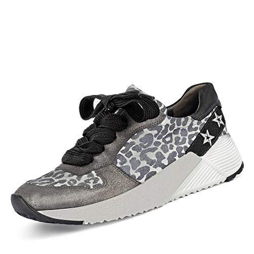 Paul Green 4832 Damen Sneaker aus Veloursleder mit Lederfutter Lederinnensohle, Groesse 41, anthrazit/Leo